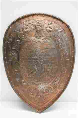 Victorian Metal Shield In The Renaissance Manner