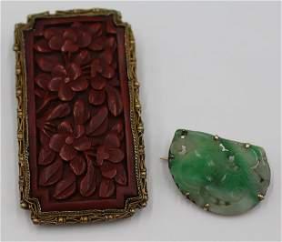 JEWELRY. Cinnabar and Jade Jewelry Grouping.