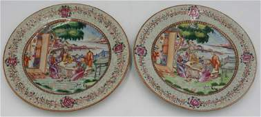 Pair of Chinese Export Enamel Decorated Plates.