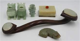 6 pc Asian Jade and Jadeite Grouping