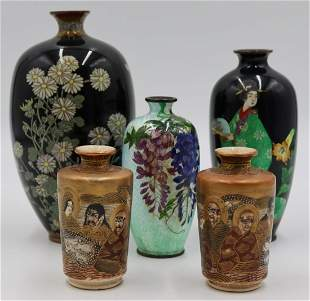 Grouping of Japanese Cloisonne and Satsuma.