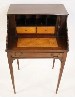 Antique Mahogany Campaign Style Leathertop Desk.