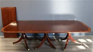 Vintage & Custom Quality Mahogany Triple Pedestal