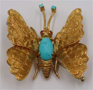JEWELRY. Italian 18kt Gold, Turquoise and Ruby