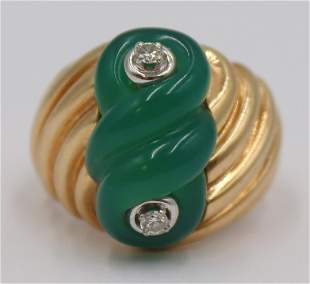 JEWELRY. 14kt Gold, Carved Gem, and Diamond Ring.