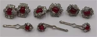 JEWELRY. Platinum, Ruby, and Diamond Jewelry Suite