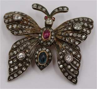 JEWELRY Antique Diamond and Colored Gem Butterfly