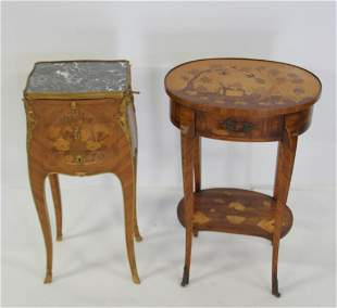 2 Fine Louis XV Style Inlaid & Bronze Mounted
