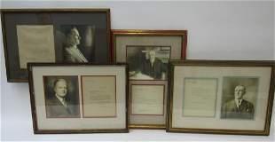 Group of 4 Framed & Signed Presidential Letters