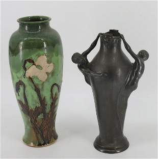 2 Unsigned Arts And Crafts  Vases