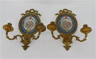 Pair of Gilt Bronze & Sevres & Porcelain Sconces
