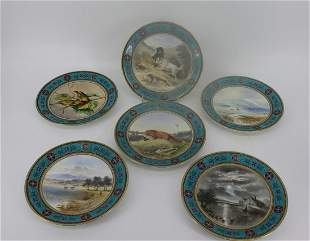 6 Royal Worcester Hand Painted Porcelain Plates.
