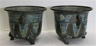 Pair of Antique Chinese Bronze Champleve Garden