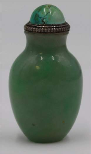 Jadeite Jade Snuff Bottle with Turquoise Stopper.