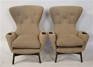 A Pair Of Adrian Pearsall Upholstered Wing Chairs.