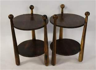 A Pair Of 2 Tier End Tables With Ball Finials.