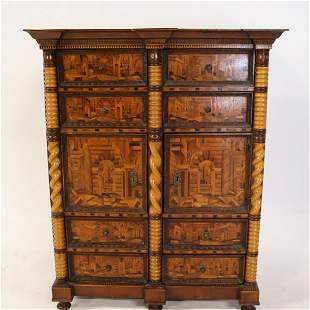 Antique Continental Parquetry Inlaid Cabinet.