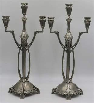 Signed Achilles Gamba Art Nouveau Silvered Pewter
