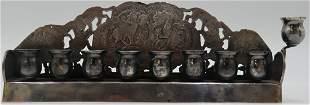 JUDAICA. Russian Silver Hanukkah Lamp Menorah.