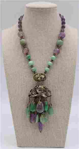 JEWELRY. Chinese Silver Amethyst and Jade Necklace