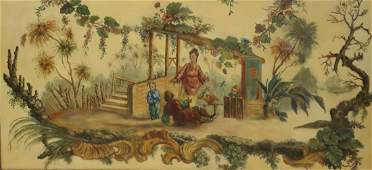 Unsigned Oil On Masonite Chinoiserie Painting.