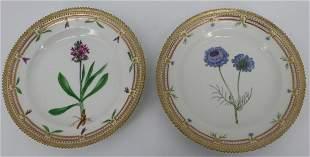 2 Royal Copenhagen Flora Danica Porcelain