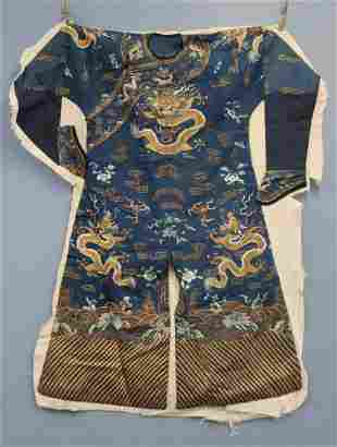 Embroidered Kimono with Dragons and Flowers.
