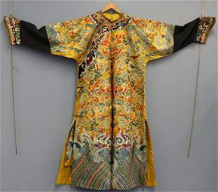 Chinese Imperial Yellow Longpao Dragon Robe.
