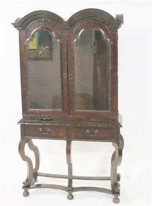Antique William & Mary Double Arch Cabinet On