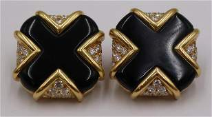 JEWELRY Pair of Signed 18kt Gold Onyx and Diamond