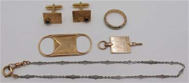 JEWELRY. Assorted Gold Accessories Grouping.