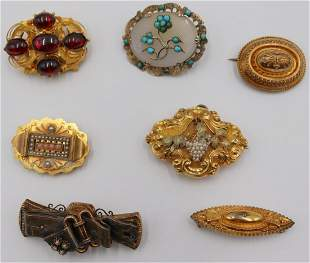 JEWELRY. Grouping of (7) Antique/Vintage Brooches.