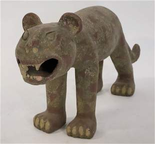 Antique Carved Wood Polychrome Animal