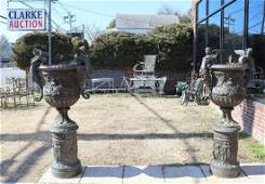 Large And Impressive Pair Of Bronze Carved Urns.