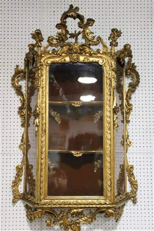 Antique Rococo Carved Giltwood Wall Vitrine.