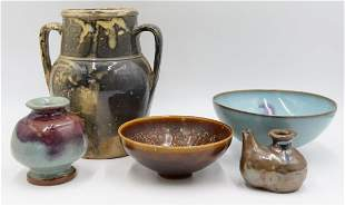 Grouping of (5) Pcs. of Assorted Asian Pottery.