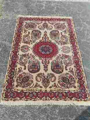 Vintage And Finely Hand Woven  Persian Kashan Rug