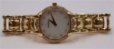 JEWELRY. Movado 14kt Gold and Diamond Watch.