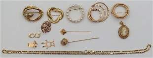 JEWELRY. Assorted Grouping of 14kt Gold Brooches.