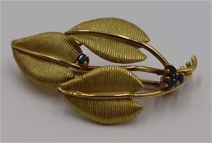 JEWELRY. Tiffany & Co 18kt Gold & Sapphire Brooch