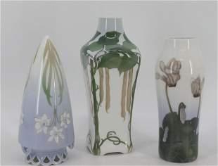 3 Royal Copenhagen Porcelain Vases.