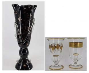 Tall Murano Glass Vase Together With 2 Hurricane