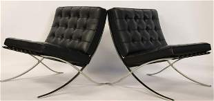 Pair of Mies Van Der Rohe Knoll Barcelona Chairs.