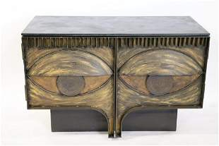 Vintage Paul Evans Style Slate Top  Metal Cabinet