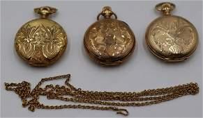 JEWELRY. (3) 14kt Gold Ladies Pocket Watches.