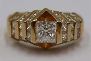 JEWELRY. 1.30ct Princess Cut Diamond and 14kt Gold