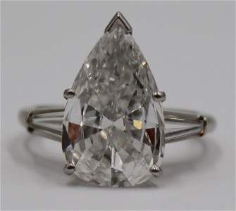 JEWELRY. 3.71 Ct D-Color Pear-Shaped Diamond Ring.