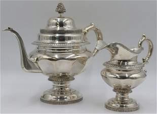 SILVER. 2pc J. & I. Cox Coin Silver Tea Set.