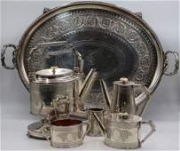 SILVER. (5) Pc. English Silver Tea Service.