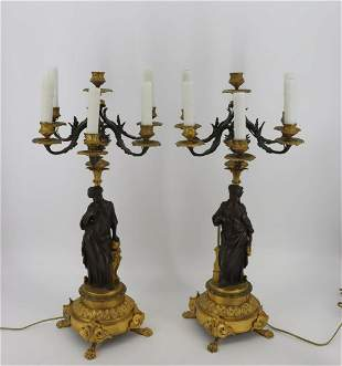 A Fine Pair Of Gilt & Patinated Bronze Figural